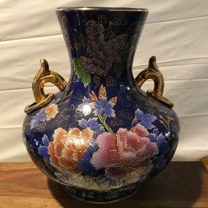 Other - COBALT BLUE  MULTI hand painted cloisonné vase.